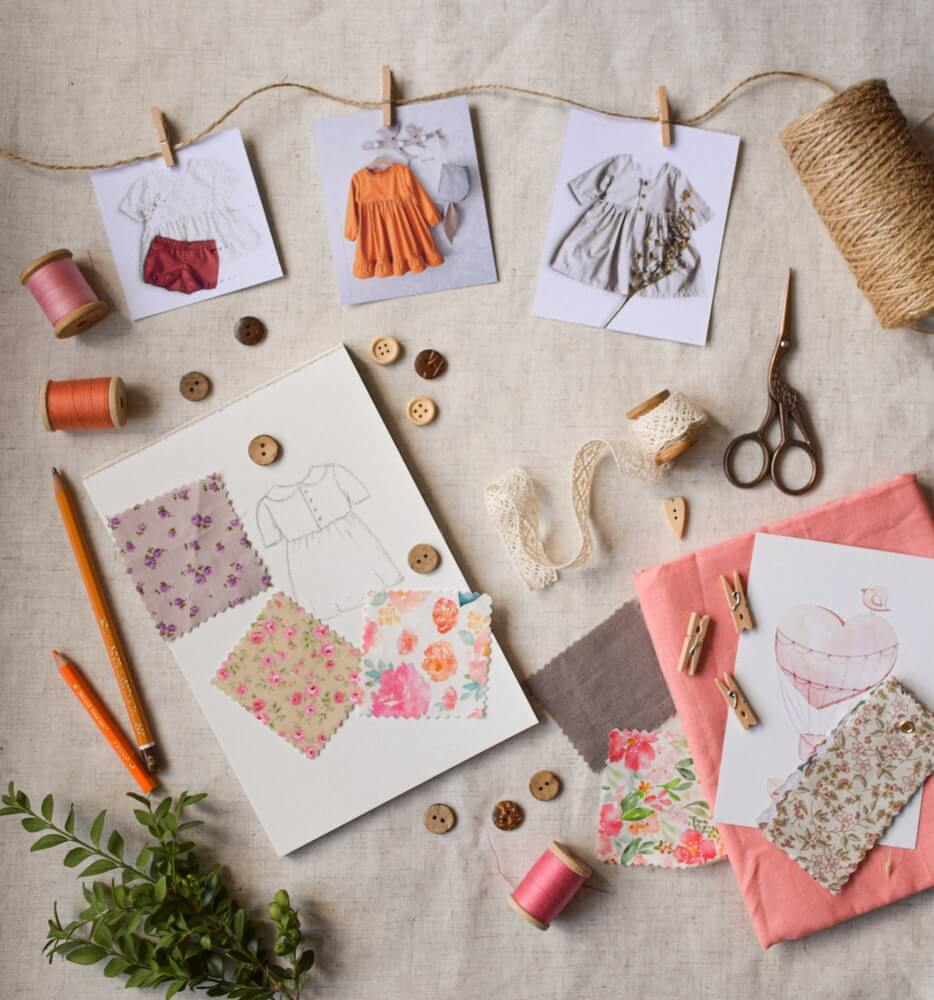sewing pattern with thread, fabric and other sewing materials
