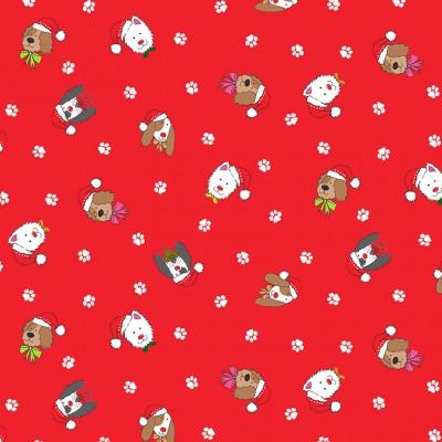 Makower yappy dog heads red